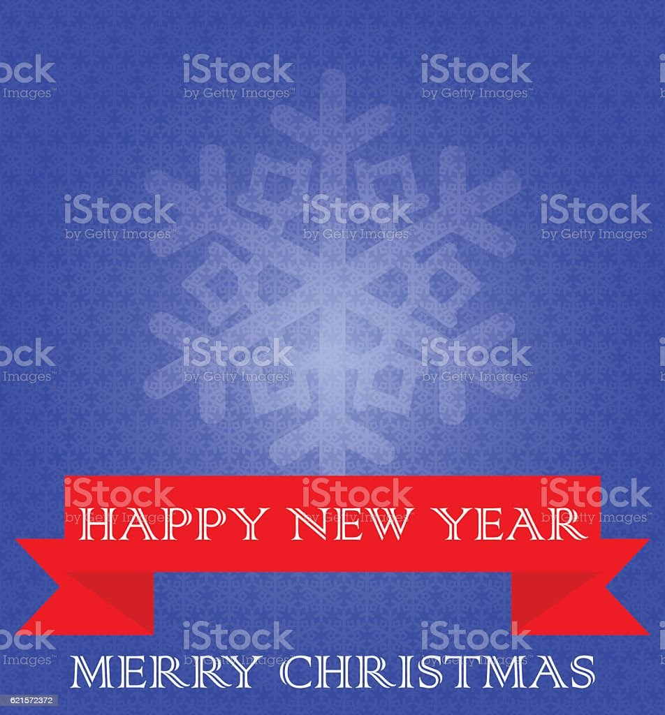 Blue background with snowflakes, red ribbon.Merry Christmas and New Year. blue background with snowflakes red ribbonmerry christmas and new year – cliparts vectoriels et plus d'images de bleu libre de droits