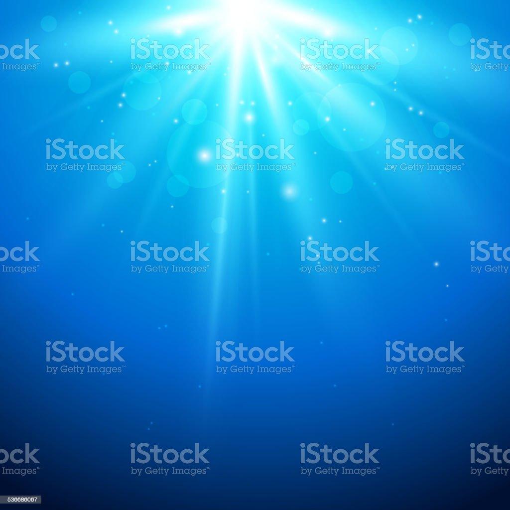 Blue background with sunlight vector art illustration