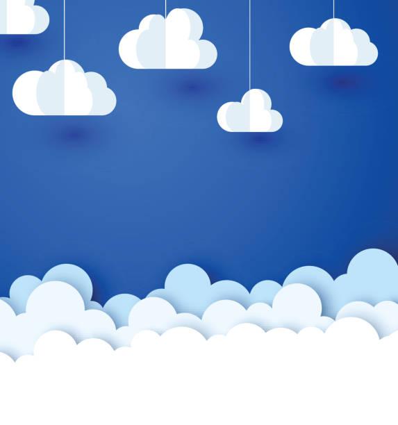 Blauer Hintergrund mit weißem Papier dekorativen Wolken. – Vektorgrafik