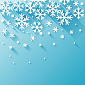 A blue background with white snowflakes