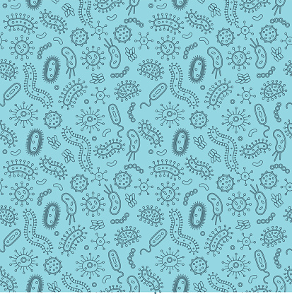 Blue Bacteria and germs in a repeat pattern