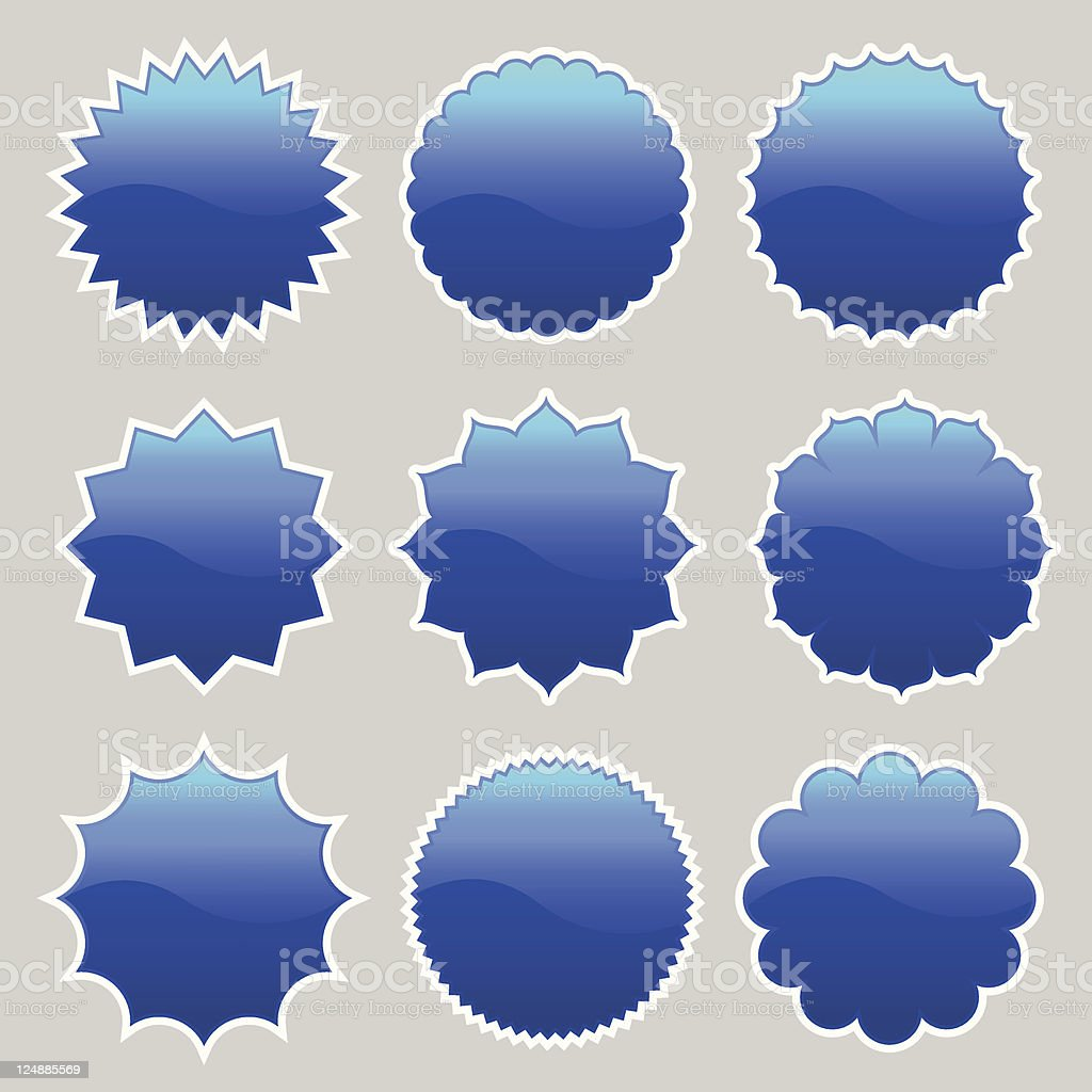 blue badge stickers royalty-free stock vector art