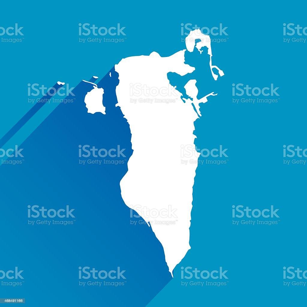 Blue Bahrain Map Icon vector art illustration