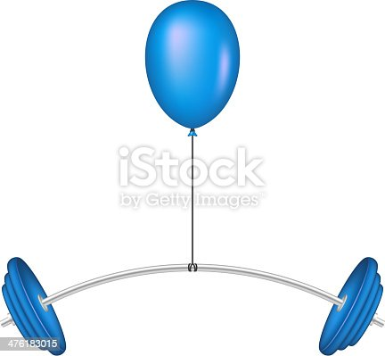 Blue balloon lifting a heavy barbell on white background
