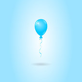 Vector Blue Balloon on Blue Background, Birthday Card, Party Invitation Card
