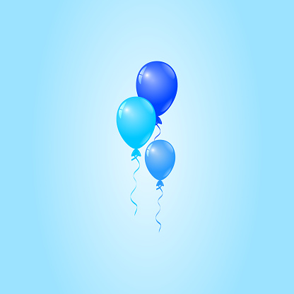 Blue Balloons on Blue Background, Birthday Card, Party Invitation Card