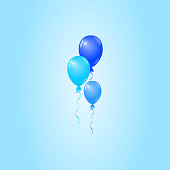 Vector Blue Balloons on Blue Background, Birthday Card, Party Invitation Card