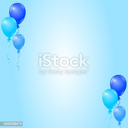 istock Blue Balloons on Blue Background, Birthday Card, Party Invitation Card 1045209474