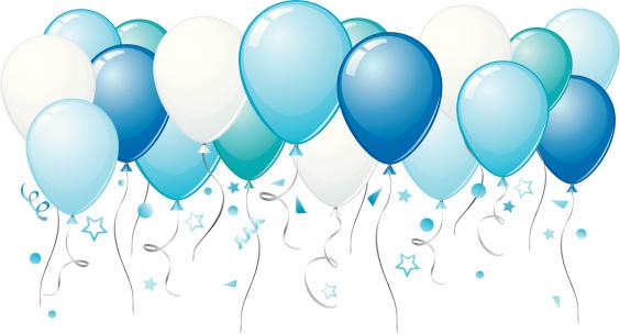 Blue balloons rising upwards towards the sky