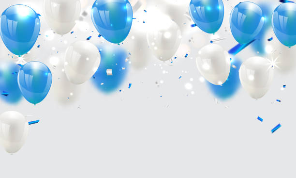 blue balloons, vector illustration. Confetti and ribbons, Celebration background blue balloons, vector illustration. Confetti and ribbons, Celebration background hot air balloon stock illustrations