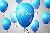 Blue Balloons with an inscription Big Sale. SALE concept for shops store market, web and other commerce. Vector illustration.