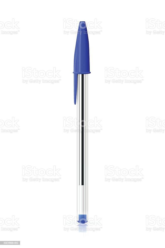 Blue ballpoint pen on white background - ilustración de arte vectorial
