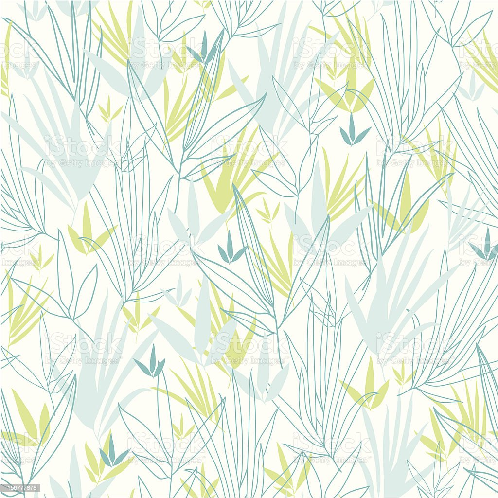 Blue Bamboo Leaves Seamless Pattern Background royalty-free blue bamboo leaves seamless pattern background stock vector art & more images of backgrounds