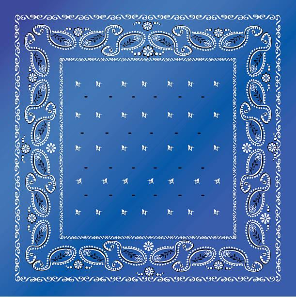 A blue bandana with white frames vector art illustration