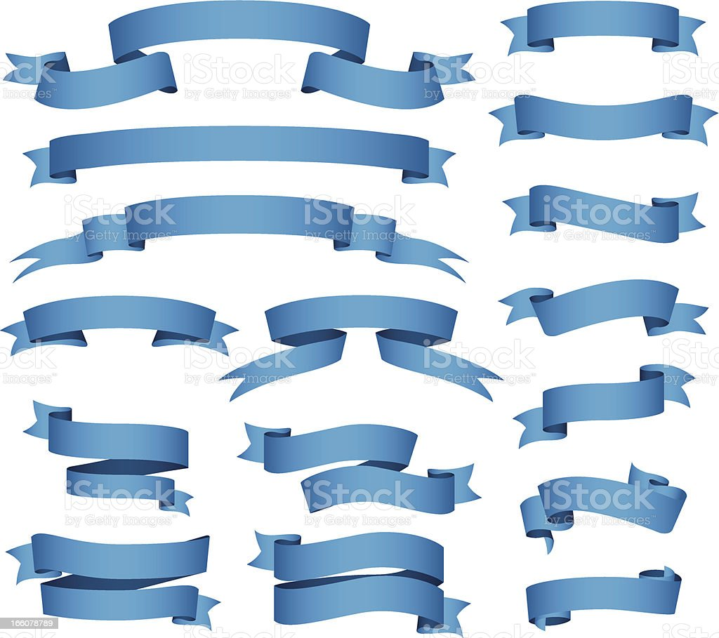 Blue banners and ribbons set vector art illustration