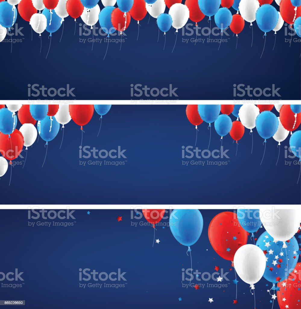 Blue banners set with balloons. vector art illustration