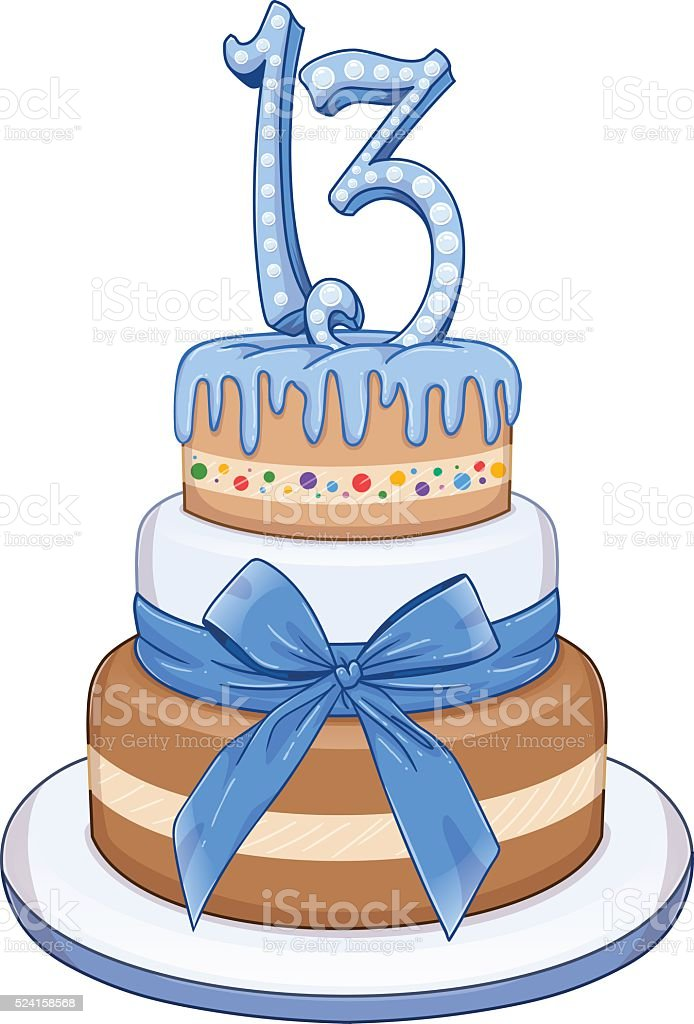 Blau Barmizwa Kuchen Zum 13 Geburtstag Stock Vektor Art und mehr ...