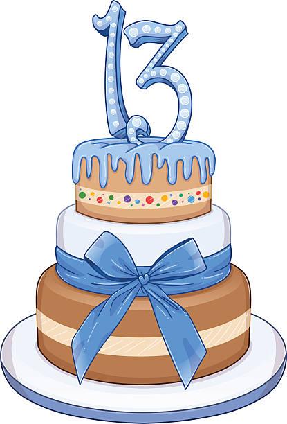 Blue Bar Mitzvah Cake For 13th Birthday vector art illustration