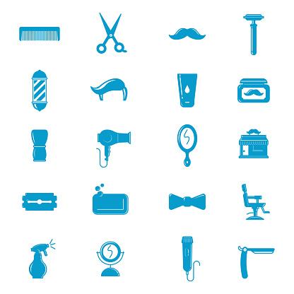 Blue Barber Shop icons set