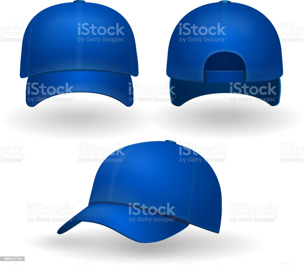 Blue baseball cap set front side view isolated on white background vector art illustration
