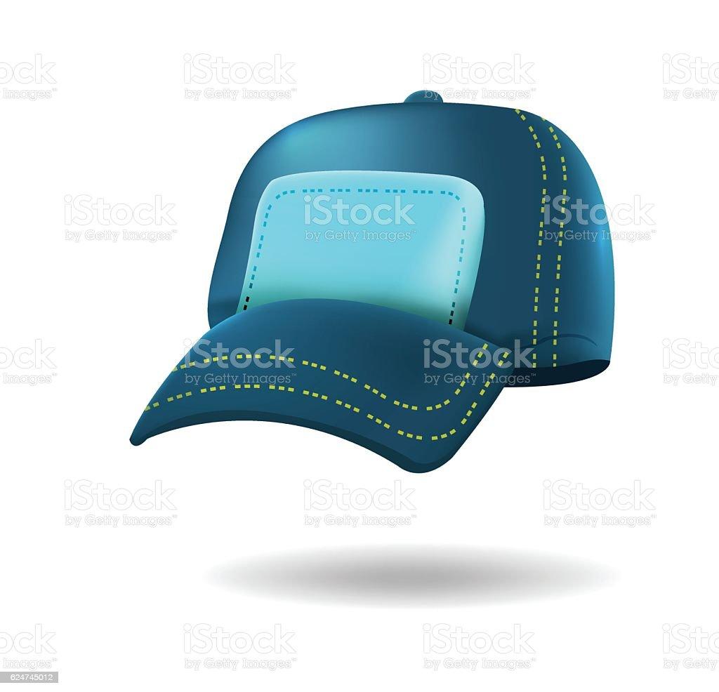 Blue Baseball Hat Isolated White Vector - ilustración de arte vectorial