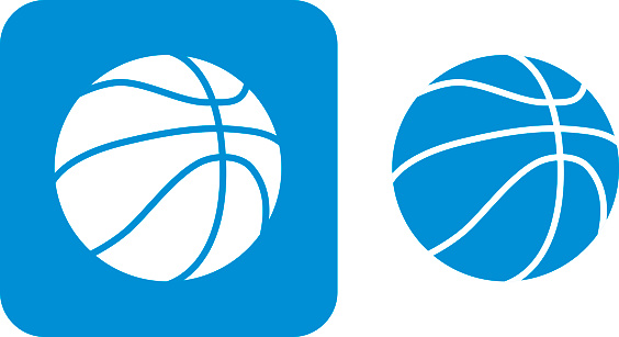 Blue Basketball Icons Stock Illustration - Download Image Now