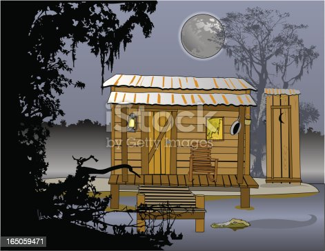 Cajun-style fishing shack with pier and gator.  At night.  AI vs 10 with outlines intact and large 300dpi jpg included in zip file. Objects grouped.