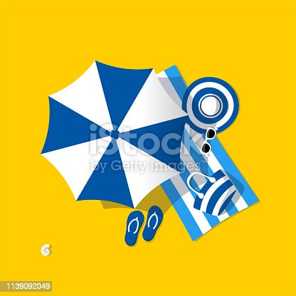 istock Blue beach umbrella 1139092049