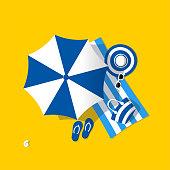 Blue beach umbrella. Aerial view of summer beach. Holiday on sea sand.