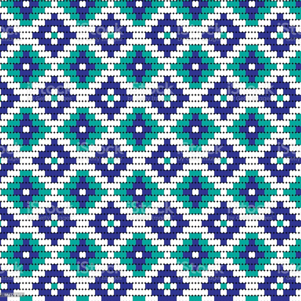 blue bead geometric pattern vector art illustration