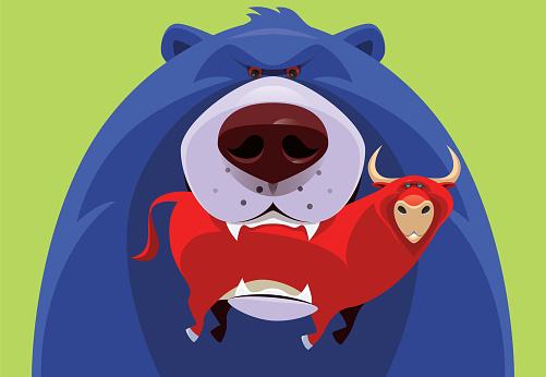 blue bear holding red bull