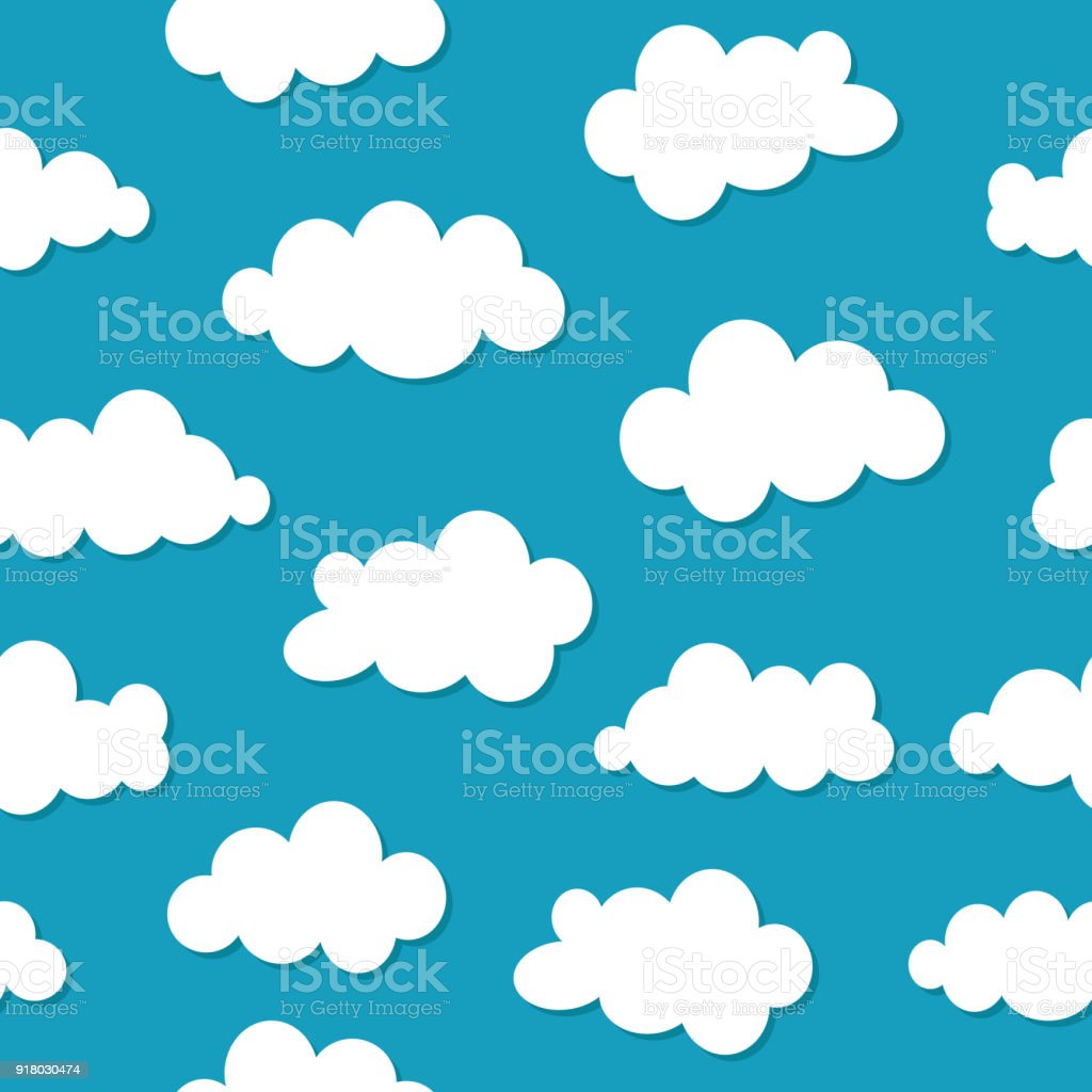 Blue Beautiful Sky With Various Clouds Vector Flat Illustration
