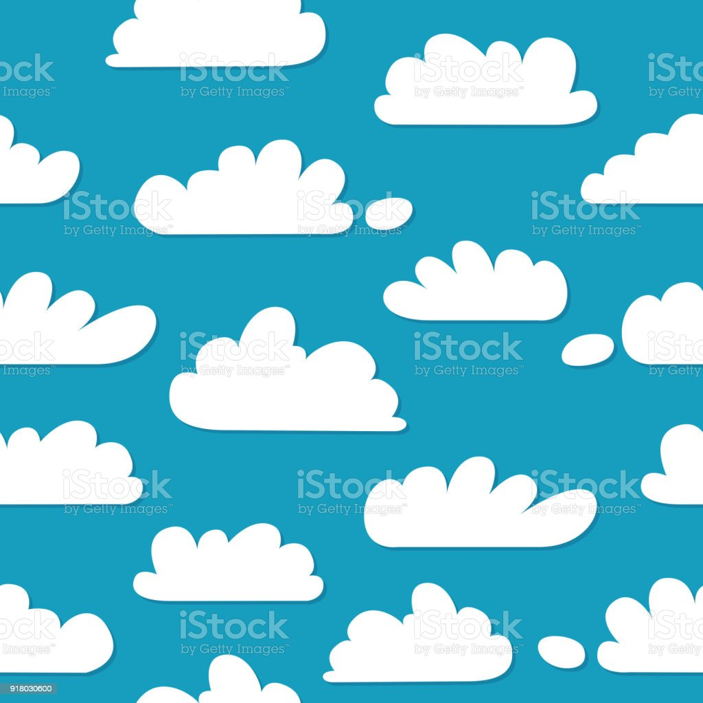 Ilustración De Cielo Hermoso Azul Con Nubes Diferentes Dibujo Plano