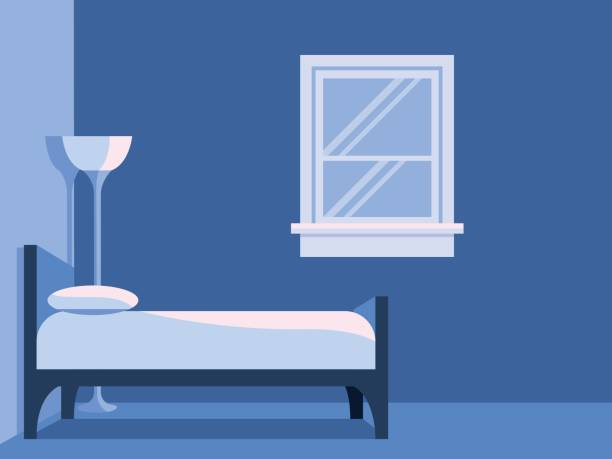 Blue Bedroom With Window Flat Vector Background vector art illustration