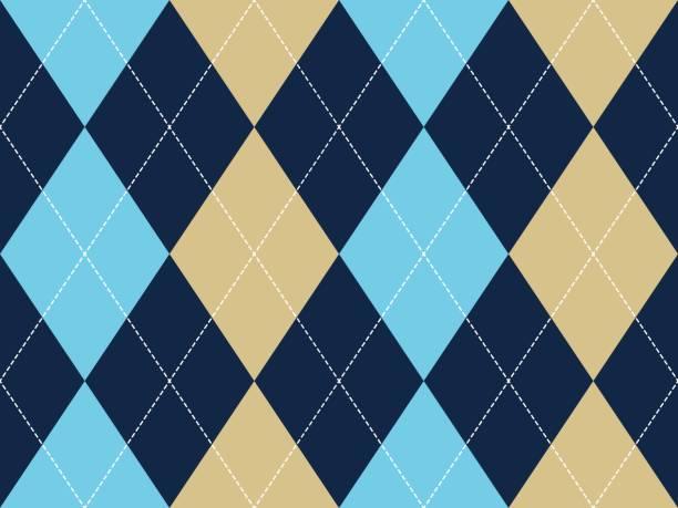 illustrazioni stock, clip art, cartoni animati e icone di tendenza di blue beige argyle seamless pattern - rombo