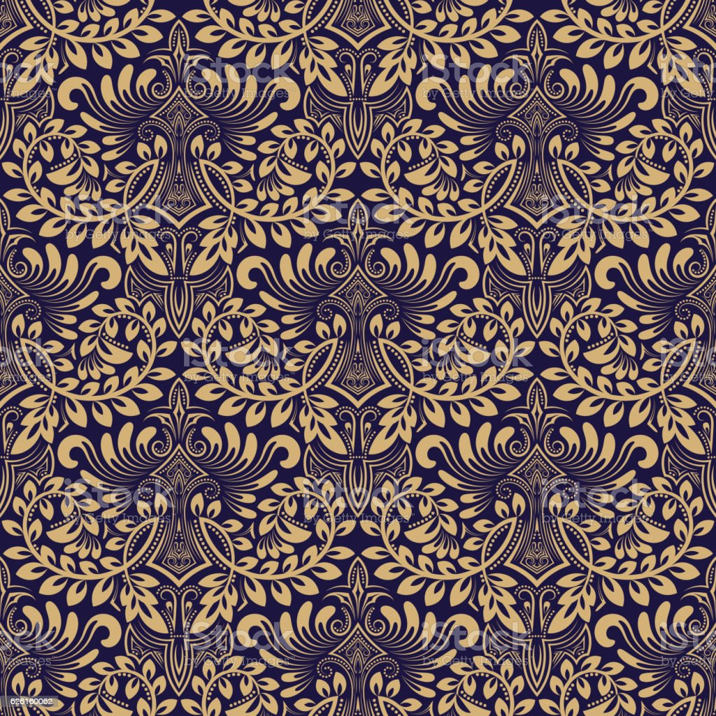 Blue beige floral seamless pattern in baroque style vector art illustration
