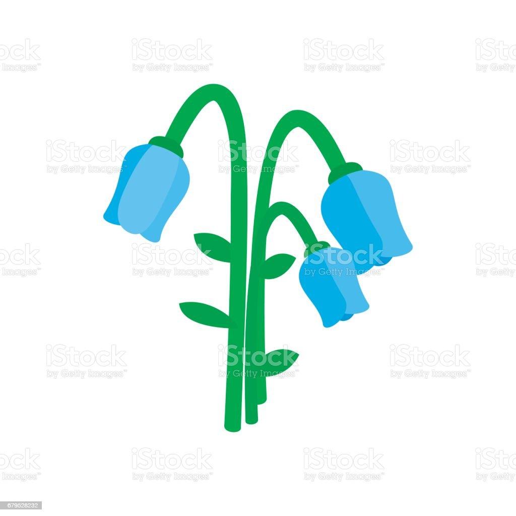 Blue bellflower icon, isometric 3d style vector art illustration
