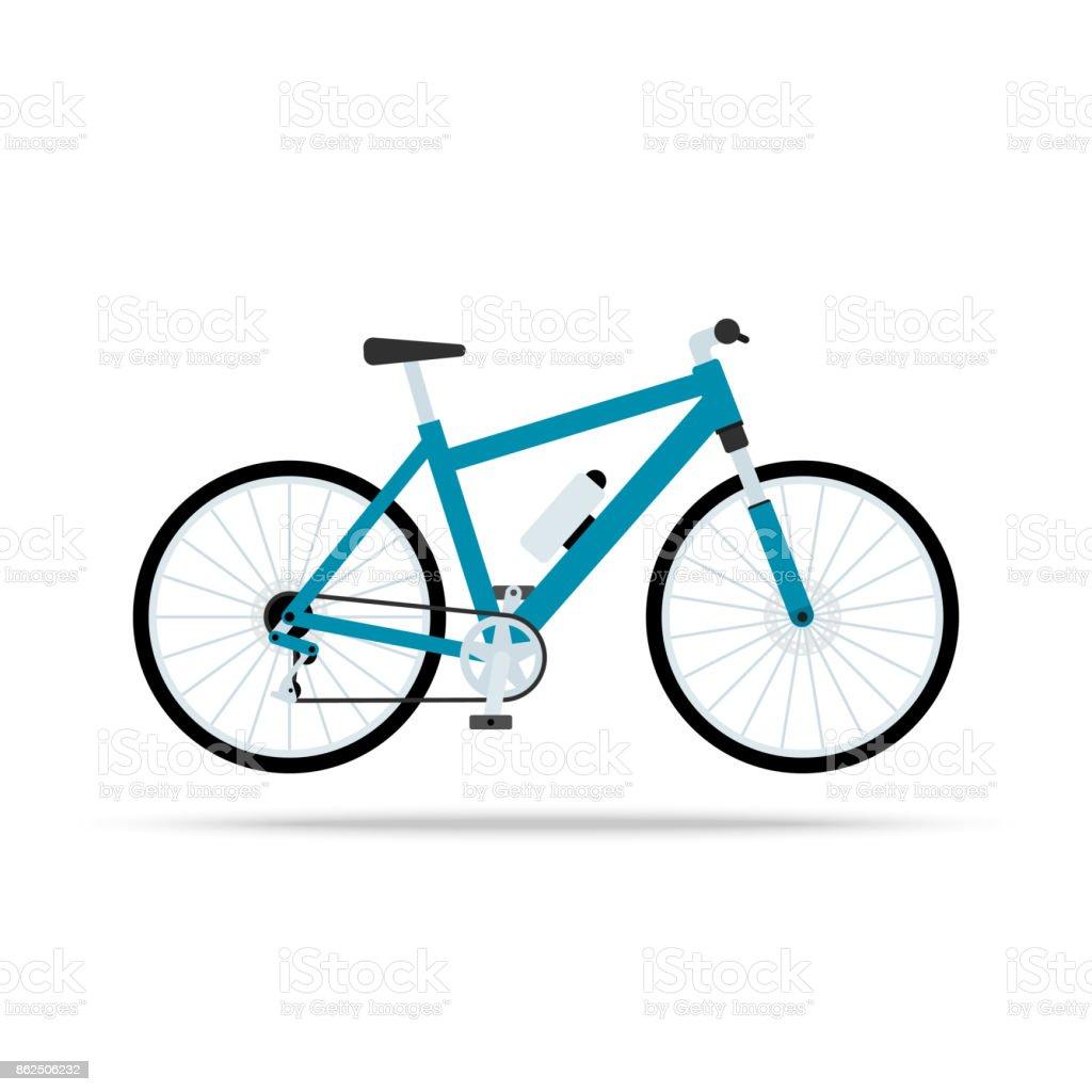 5610b0ef4 Ícone de plana de bicicleta azul. Bicicleta Vector isolado no fundo branco.  Ilustração em