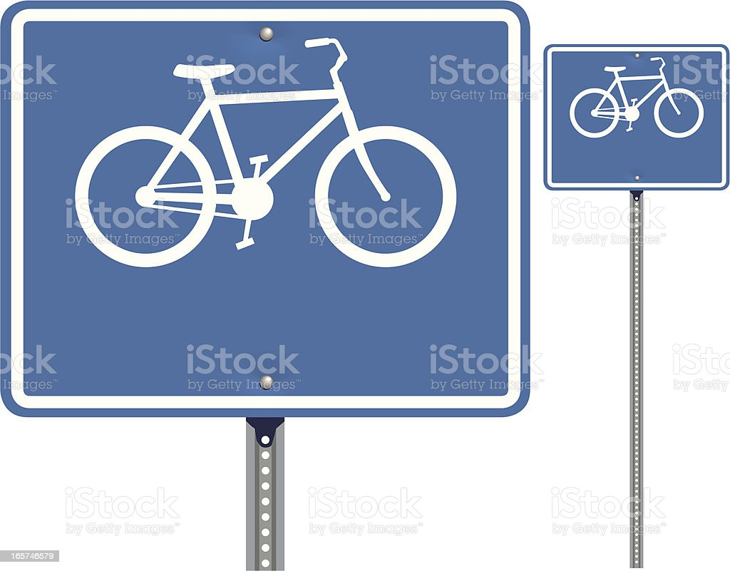 Blue Bike Route Road Sign royalty-free stock vector art