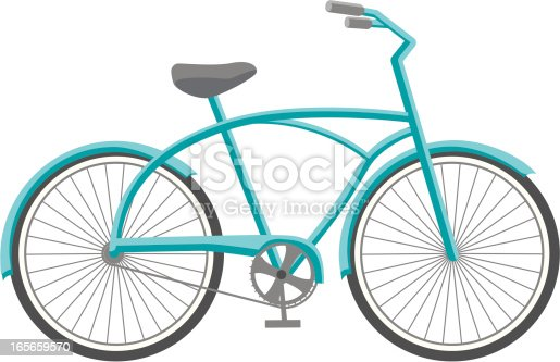 A blue, beach cruiser style bicycle.