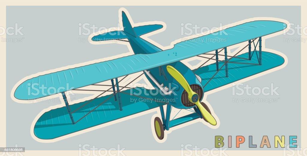 Blue biplane in vintage and color stylization. Model aircraft propeller. vector art illustration