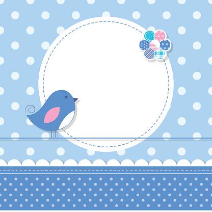 blue bird baby boy greeting card