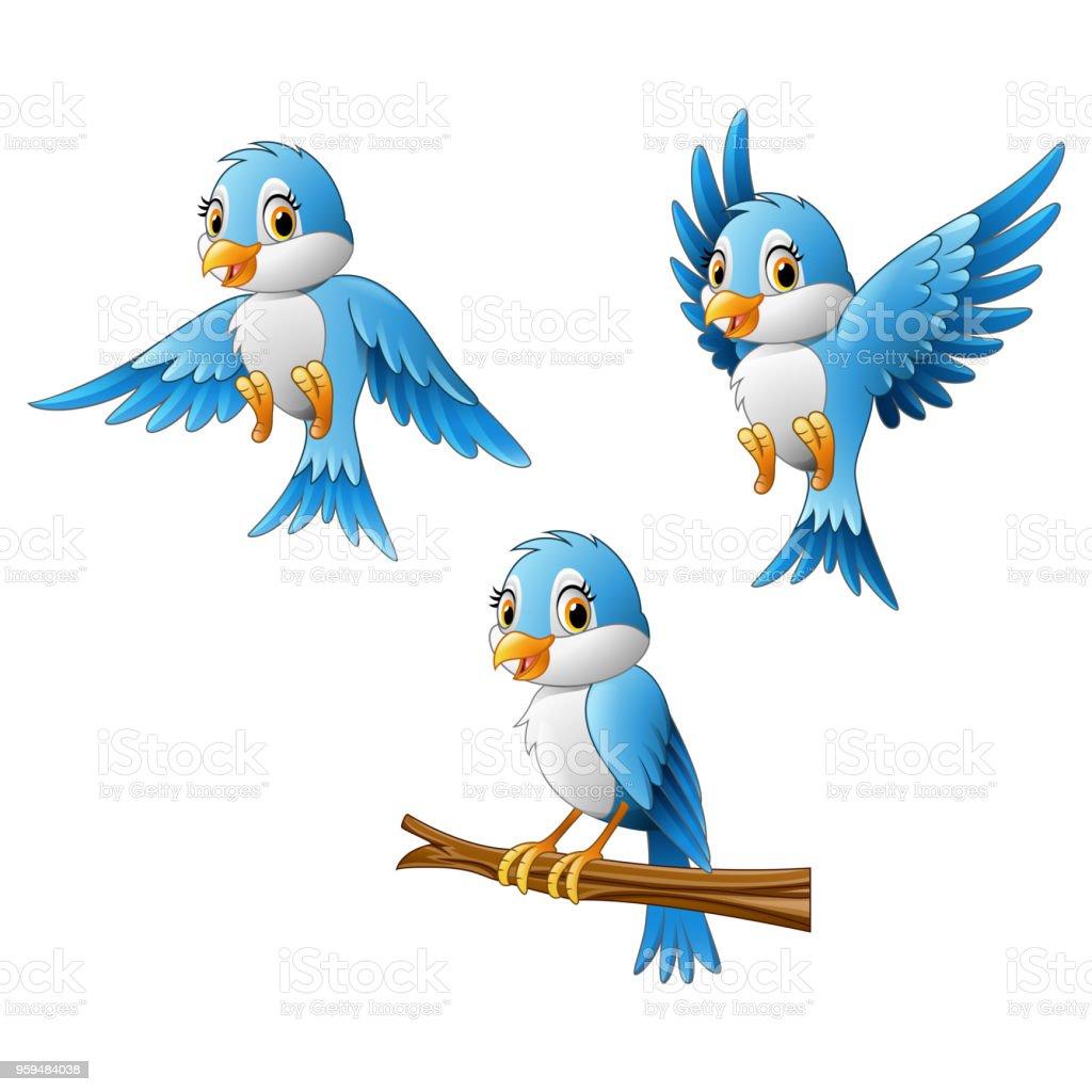 Blue bird cartoon vector art illustration