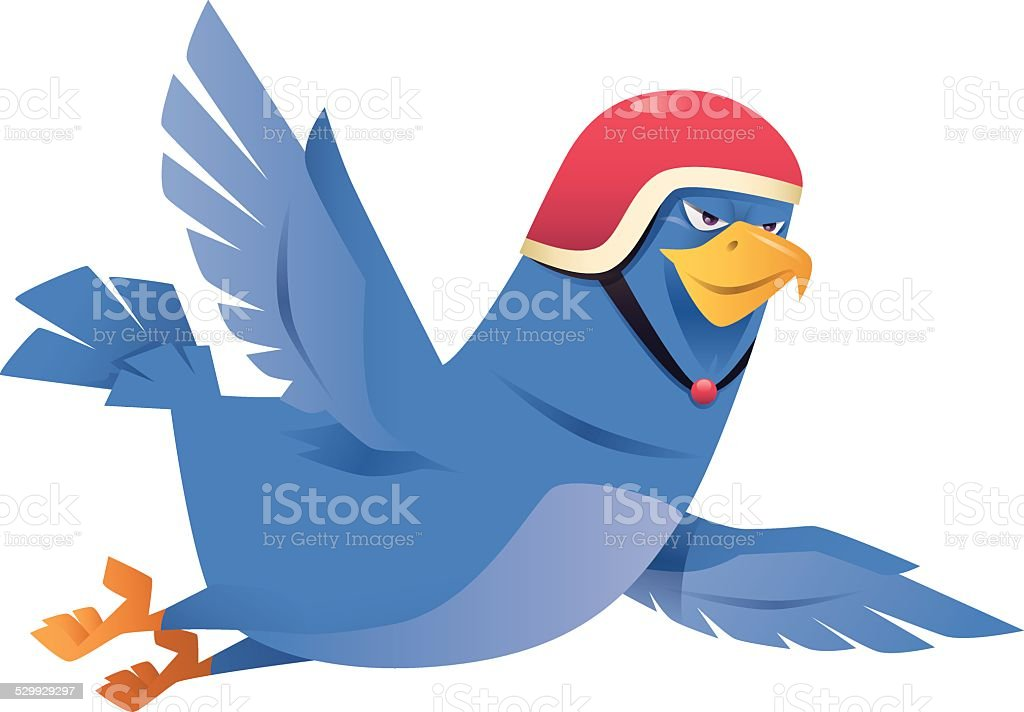 Blue Bird Flying Stock Vector Art More Images Of Animal 529929297