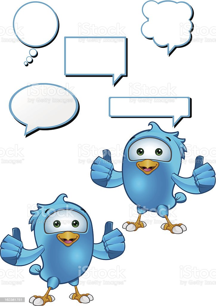 Blue Bird - Giving A Two Thumbs Up royalty-free stock vector art