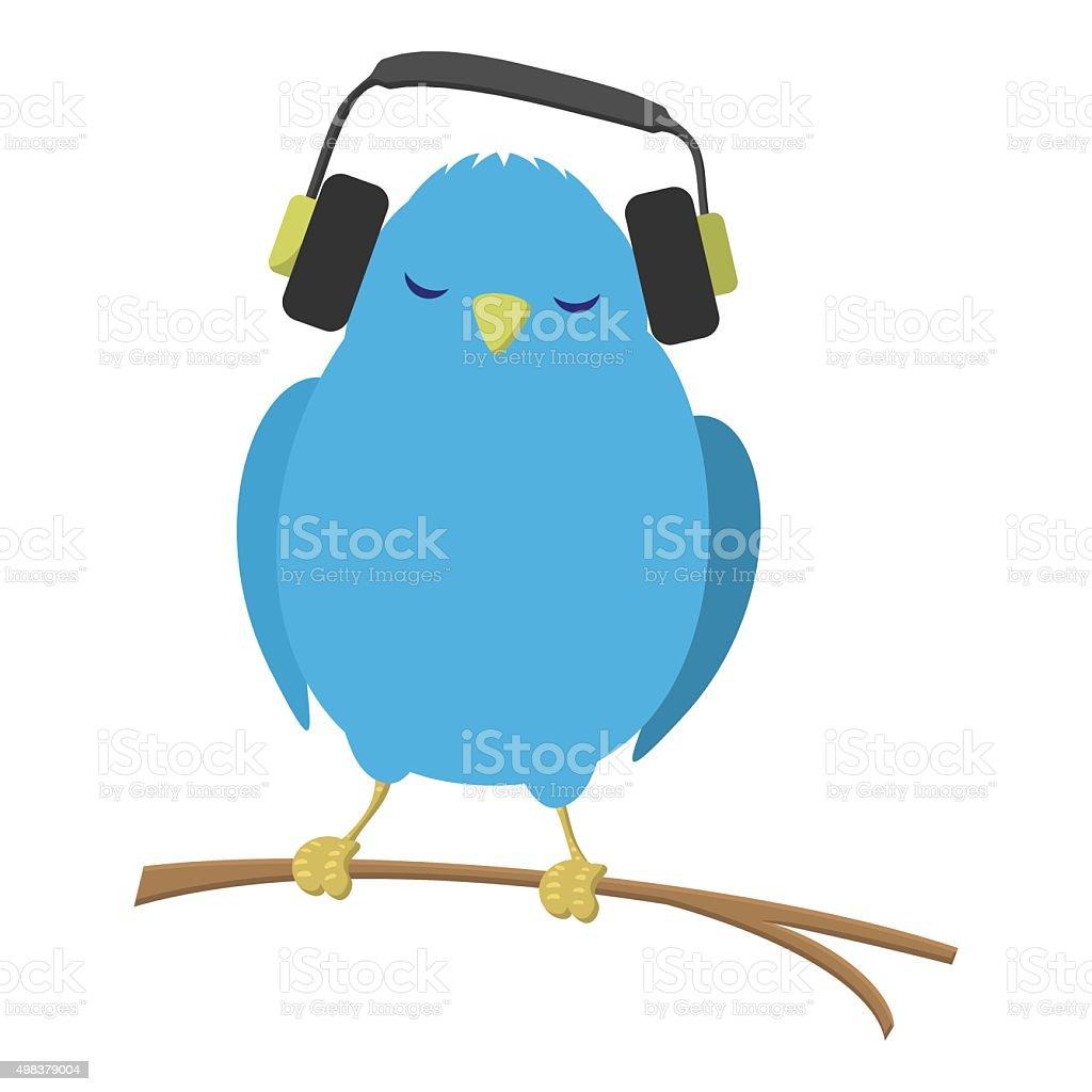 Blue bird listening to music vector art illustration