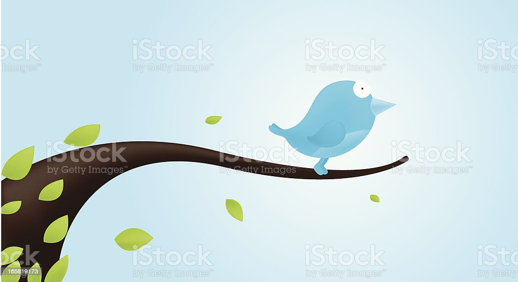 Blue bird on branch royalty-free stock vector art