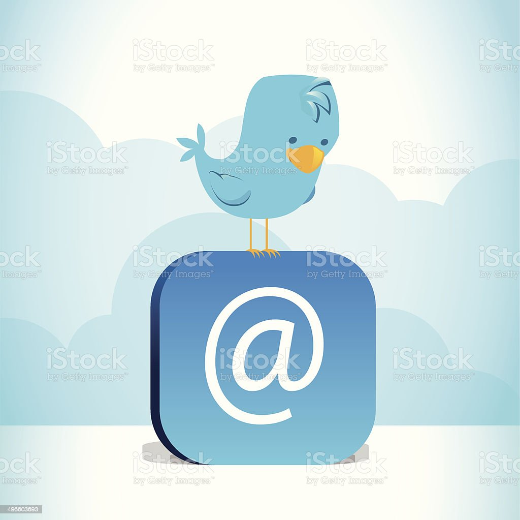 Blue bird perched on blue @ symbol vector art illustration