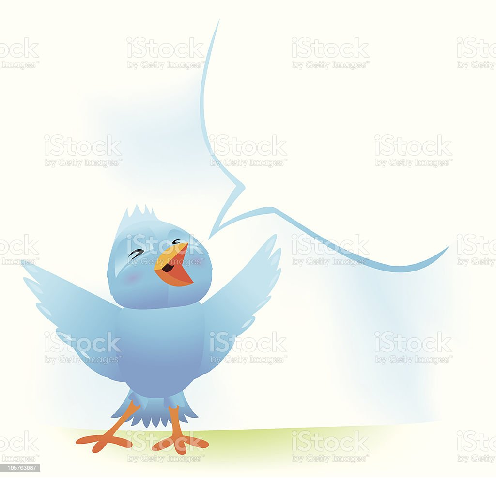 Blue Bird sings vector art illustration