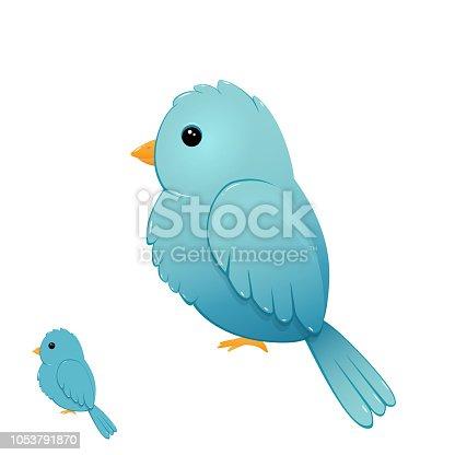 Blue bird isolated on white background, illustration.